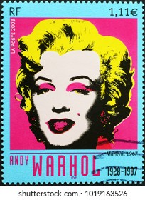 Milan, Italy - February 3, 2018: Famous portrait of Marylin Monroe by Andy Warhol on stamp