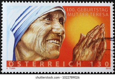 Milan, Italy - February 3, 2018: Mother Teresa on austrian postage stamp