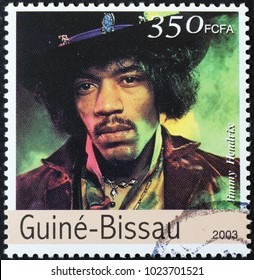 Milan, Italy - February 3, 2018: Jimi Hendrix on postage stamp of Guinea-Bissau