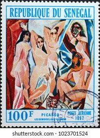 Milan, Italy - February 3, 2018: Les Demoiselles d'Avignon by Picasso on postage stamp