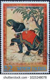 Milan, Italy - February 3, 2018: Beautiful painting of indian elephant on postage stamp