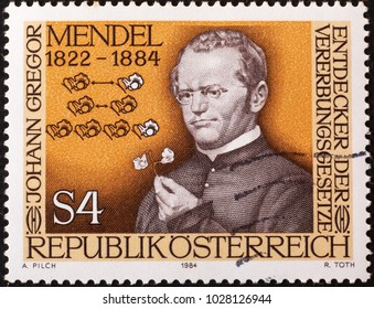 Milan, Italy - February 3, 2018: Scientist Gregor Mendel on austrian postage stamp
