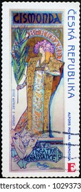 Milan, Italy - February 3, 2018: Poster of Sarah Bernardt by Mucha on czech stamp