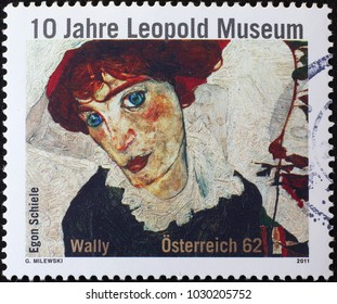 Milan, Italy - February 3, 2018: Painting by Egon Schiele on austrian postage stamp