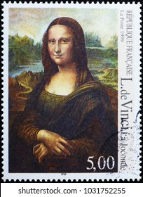 Milan, Italy - February 3, 2018: Famous painting Mona Lisa on french postage stamp