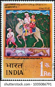 Milan, Italy - February 3, 2018: Indian painting on postage stamp