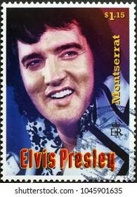 Milan, Italy - February 3, 2018: Elvis Presley on postage stamp of Montserrat