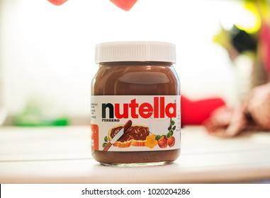Milan, Italy - February 6, 2018 : Nutella vase in the kitchen. Nutella is Italian world's famous chocolate cream by Ferrero industry