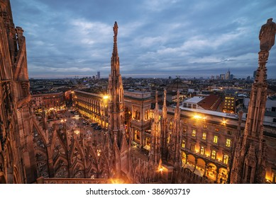 Milan, Italy: Gothic roof of the Cathedral in sunset. Beautiful representative picture of Italian capital city of culture.
