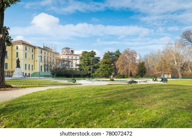 Milan, Italy.  Indro Montanelli public gardens (or gardens of porta Venezia or via Palestro) in Milan city. Large urban park with the fountain of Palazzo Dugnani