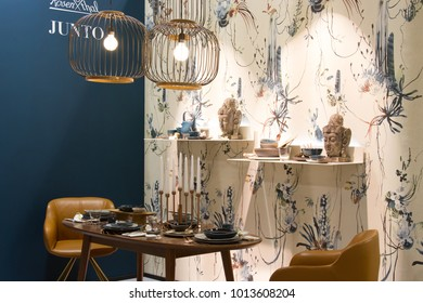 MILAN, ITALY - JAN 26, 2018: Products displayed at HOMI lifestyle trade fair 2018, january edition