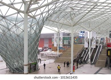 MILAN, ITALY - JAN 26, 2018: Entrance of Fiera Milano Rho during HOMI lifestyle trade fair 2018, january edition