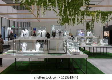 MILAN, ITALY - JAN 26, 2018: Jewels displayed at Naturalia exibition during HOMI lifestyle trade fair 2018, january edition