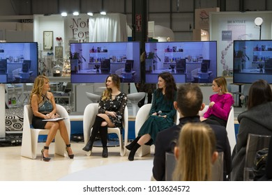 MILAN, ITALY - JAN 26, 2018: Talkshow about influencer and communication with Jo Squillo, during HOMI lifestyle trade fair 2018, january edition