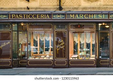MILAN, ITALY, JANAURY - 2018 - Restaurant exterior facade at historic center of milan city, Italy