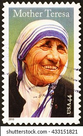 Milan, Italy - January 08, 2014: Mother Teresa on american postage stamp