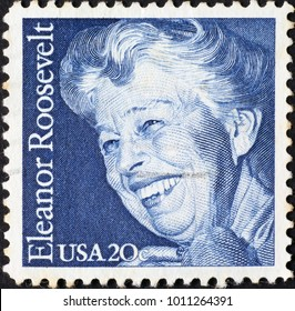 Milan, Italy - January 10, 2018: Eleanor Roosevelt on american postage stamp