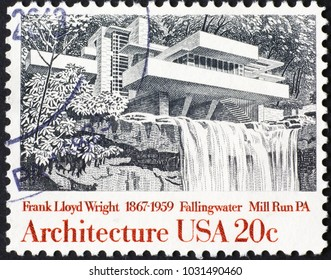 Milan, Italy - January 10, 2018: Fallingwater house by Frank Lloyd Wright on american stamp