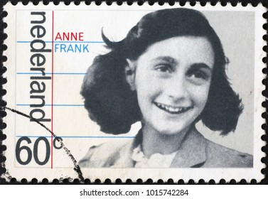 Milan, Italy - January 11, 2018: Anne Frank on dutch postage stamp