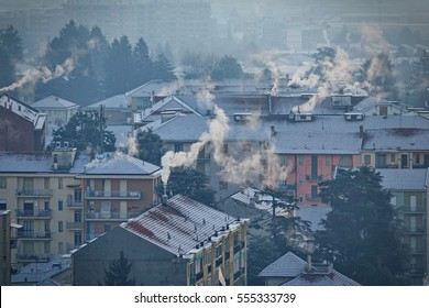 MILAN, ITALY- January 12, 2015: air pollution from smoking chimneys