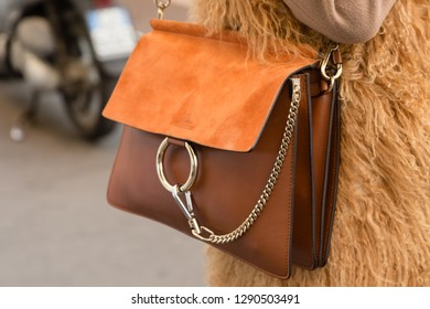 MILAN, ITALY - JANUARY 12: Detail of bag outside Magliano fashion show during Milan Men's Fashion Week on JANUARY 12, 2019 in Milan.