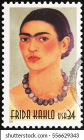 Milan, Italy - January 13, 2017: Frida Kahlo selfportrait on american postage stamp