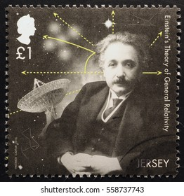 Milan, Italy - January 13, 2017: Portrait of Einstein on postage stamp of Jersey
