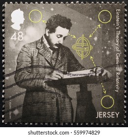 Milan, Italy - January 13, 2017: Young Albert Einsten thinking on stamp of Jersey