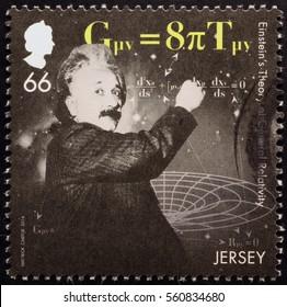 Milan, Italy - January 13, 2017: Portrait of Albert Einstein on postage stamp