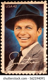 Milan, Italy - January 13, 2017: Frank SInatra on american postage stamp