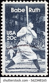 Milan, Italy - January 13, 2017: Babe Ruth on old american postage stamp