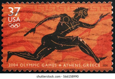 Milan, Italy - January 13, 2017: Postage stamp on Olympic games in Athens