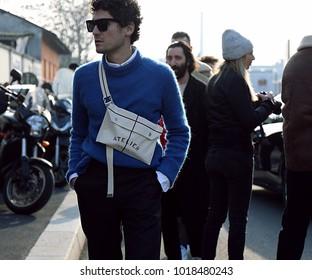 MILAN, Italy- January 14 2018: Alvaro de Juan on the street during the Milan Fashion Week.