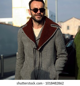 MILAN, Italy- January 14 2018: Federico Rocca on the street during the Milan Fashion Week