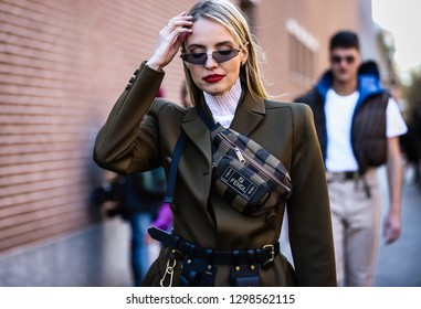MILAN, Italy- January 14 2019: Leonie Hanne  on the street during the Milan Fashion Week.