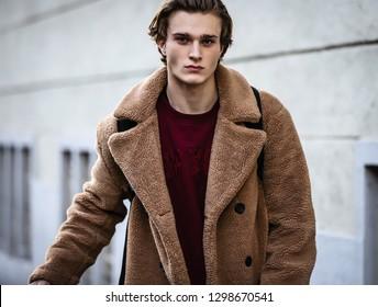 MILAN, Italy- January 14 2019: Model on the street during the Milan Fashion Week.