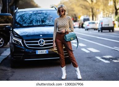 MILAN, Italy- January 14 2019: Xenia Van Der Woodsen on the street during the Milan Fashion Week.