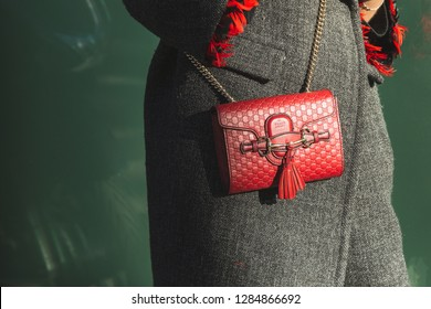 MILAN, ITALY - JANUARY 14: Detail of bag outside Armani fashion show during Milan Men's Fashion Week on JANUARY 14, 2019 in Milan.