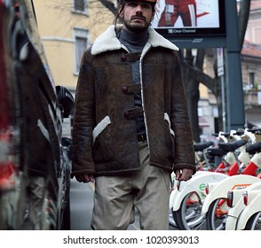 MILAN, Italy- January 15 2018: Giotto Calendoli on the street during the Milan Fashion Week.