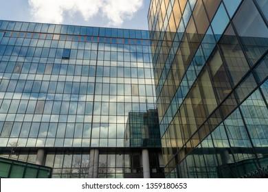 Milan, Italy - January 16, 2019: Milan, Lombardy, Italy: modern building along via Domodossola