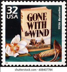 Milan, Italy - January 17, 2014: Novel Gone with the wind on american stamp