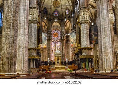 MILAN, ITALY - JANUARY 18, 2016: Main nave of Duomo or cathedral one of the biggest gothic cathedrals.
