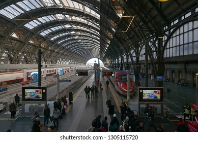 MILAN, ITALY -JANUARY 18 2019: People in the busy historical Central station
