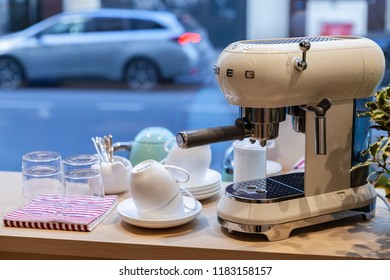 Milan, Italy - January 19, 2018: White Espresso Coffee maker by Smeg. It is an Italian manufacturer of upmarket domestic appliances