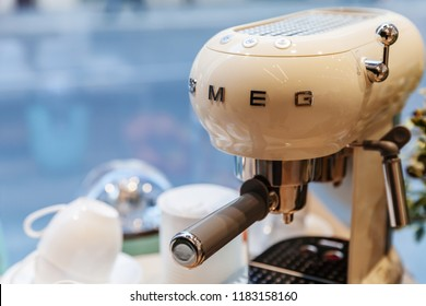Milan, Italy - January 19, 2018: White Espresso Coffee maker fragment by Smeg. It is an Italian manufacturer of upmarket domestic appliances