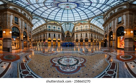 MILAN, ITALY - JANUARY 2, 2015:  Galleria Vittorio Emanuele II in Milan. It's one of the world's oldest shopping malls, designed and built by Giuseppe Mengoni between 1865 and 1877.