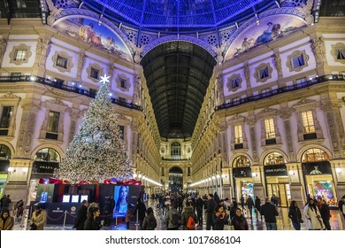 MILAN, ITALY - JANUARY 2, 2018: Christmas and New Year decoration of Galleria Vittorio Emanuele II (1877) - one of the world's oldest shopping malls. Night illumination.