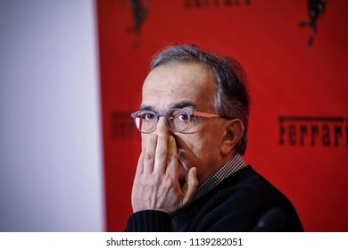 Milan, Italy - January 2016: Sergio Marchionne chief executive officer of FCA speaks during a news conference of Ferrari