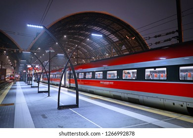 Milan, Italy - January 2018: Modern high-speed trains at the railway Milan Central Station