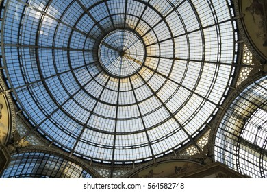 Milan, Italy - January 22, 2017: Glass dome of Galleria Vittorio Emanuele, the famous luxury shopping mall in Milan, Italy